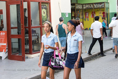 School girls walking.