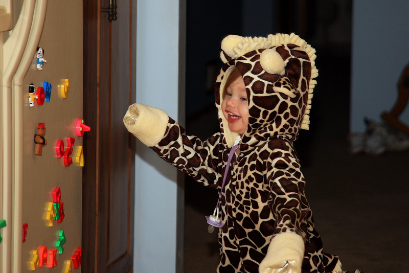 The giraffe is loose in the house!!!