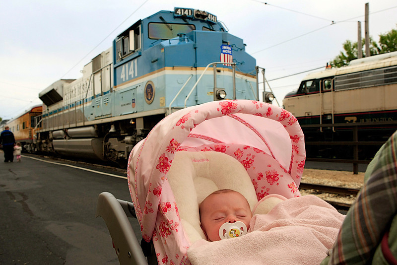 Kyrie's first trip the the rail museum!!!