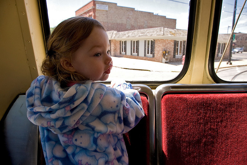 Kyrie's second trip on the Kenosha streetcar (another train ride).