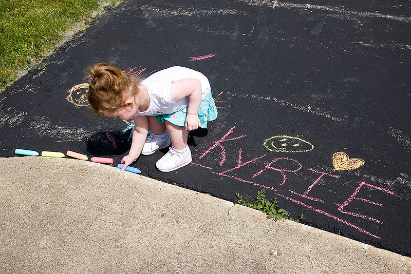 She got the idea of leaving the chalk in the crack so it wouldn't roll away...