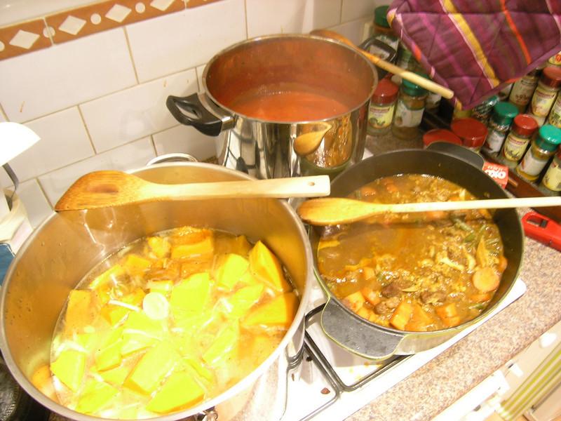 We did a big cookup for Ben & Kaz.  Pumpkin soup, pasta sauce and lamb curry.