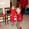 Santa visited the kids at Aunt Amy's house at the Hill Christmas Party