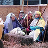 The Townsend Congregational Church's Sunday School program put on a live Nativity behind the church on Saturday afternoon. From left is Charlie Duckett playing Joseph, Deanna Capone playing Mary and Shepherds Samantha Miller, Rosie Snaith, Kyra Genoter and Rosie Emerson. SENTINEL & ENTERPRISE/ JOHN LOVE