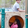 """Stephen Mayo, 11, and Arianna Rodriguez play  on the existing play structure at Lowe Playground on Elm Street in Fitchburg. The city recently received a $200,000 """"Our Common Backyards"""" grant from the state for renovations to the park. SENTINEL & ENTERPRISE / Ashley Green"""