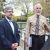 """Representative Stephen DiNatale, and Larry Casassa, Department of Public Works Business Manager, at the community meeting <br /> at Lowe Playground on Elm Street in Fitchburg. The city recently received a $200,000 """"Our Common Backyards"""" grant from the state for renovations to the park. SENTINEL & ENTERPRISE / Ashley Green"""