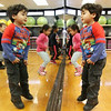 Afternoon dance party for pre-schoolers at the Greater Lowell YMCA. Matthew Guzman, 3, of Lowell, bounces to the music. (SUN/Julia Malakie)