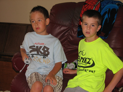 Hayden and Tyler playing Tyler's new Wii game.