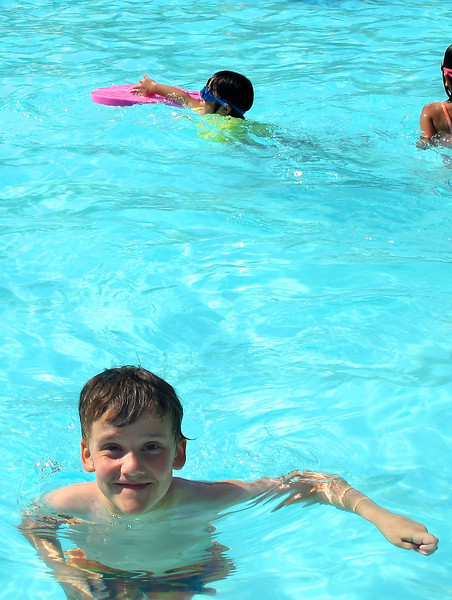 David ruling the pool with his extra adorableness.
