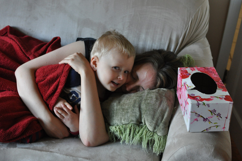 """Harrison asks """"Mommy, will you share your blanket with me?""""  And then we snuggle.  Love it."""
