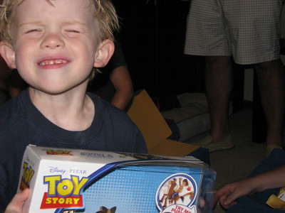 Can't tell by this face, but Michael love his Woody and Bullseye from Mimi!