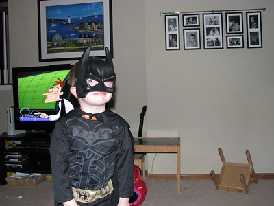"It was ""Halloween"" day at Alex's school.   Whenever anyone said, ""look it's Batman"" Alex would lower his mask and say...""No, it's Alex!"""