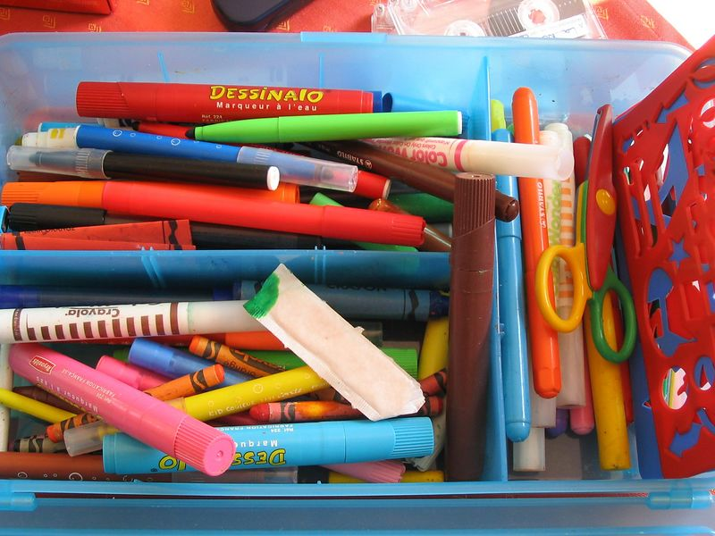 box of crayons to test the camera's colour perception, July 2003