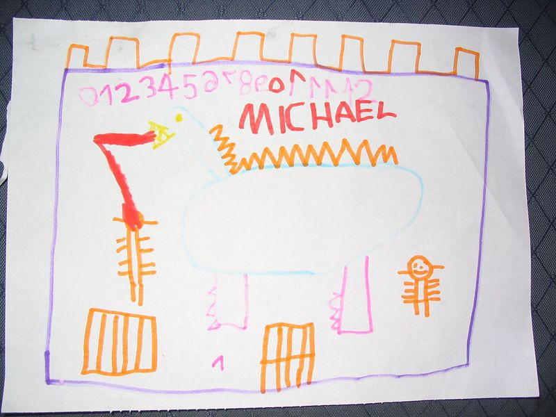 Mikey's castle, skeleton and dragon...Oct2003