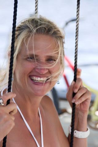 mary on swing caye caulker