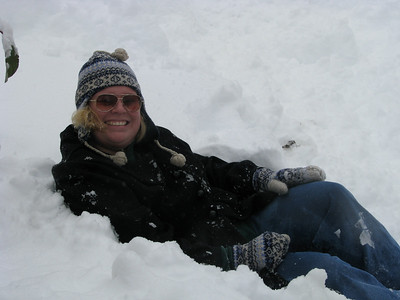 My snow chair, notice I am the only one without true snow gear, so I borrowed Jason's HUGE fleece lined jeans!