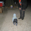 As the night went on, Chase was tired of being in the stroller and being held.  He wanted DOWN!!  So, he crawled through the gravel for a little while.