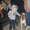 Then he got to meet a goat.  He's just his size!