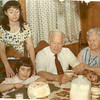 Maryann Engel Birthday-grandpop Frank Long-grandmom Jeanne Long-Tia Engel-at-table-1973