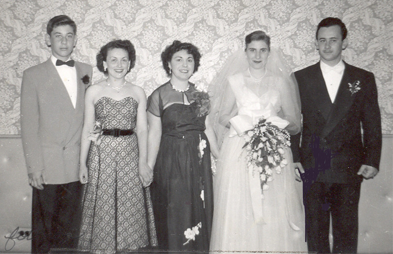 Gus Engel & Gladys-wedding-closeup-Irv Engel Left-Miriam Engel probably-Rose probably