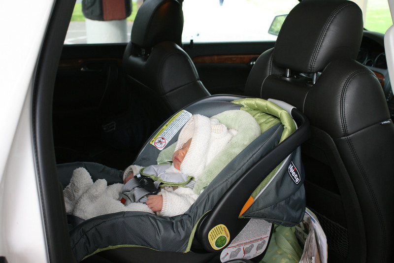 Finally in the car!!!  He slept the whole way home.