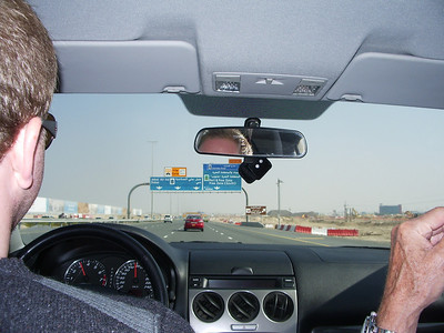 On the road to Dubai from Abu Dhabi, Ian at the wheel.