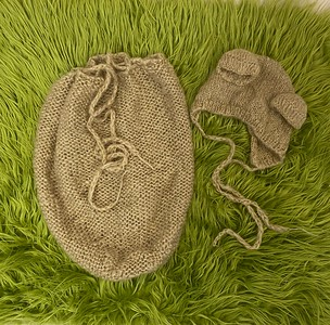 bear swaddle sack and hat