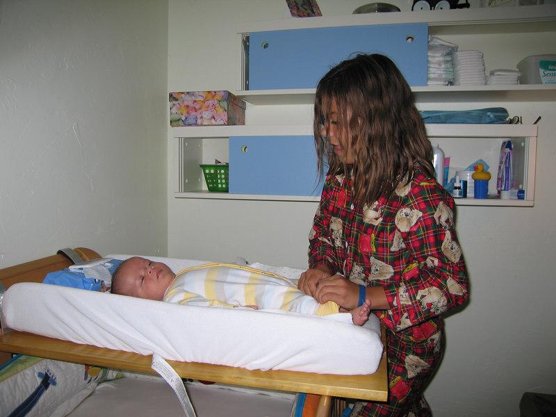 Amanda, performing the diaper change