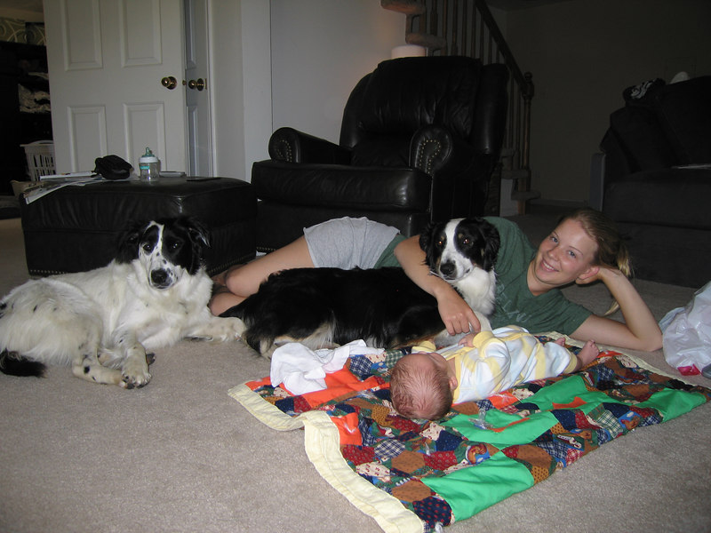 Anne, with Owen and the dogs