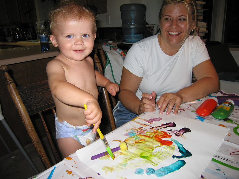 Owen tries his hand at finger painting