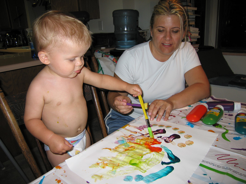 Turns out he hates the paint on his hands, he prefers to use brushes