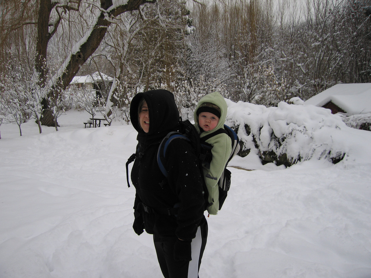 Owen and Kelly in our big December 17 snowstorm