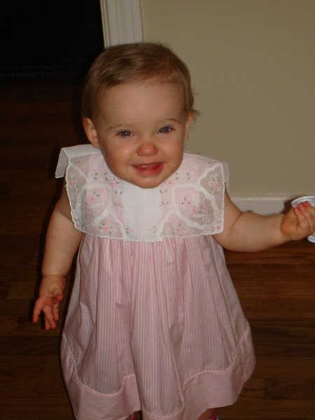 Smiling for the camera before church - Sweetie gave me this pretty dress!