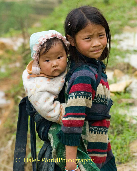 Sisters Along the Trail to Hmong Village - Sapa Vietnam