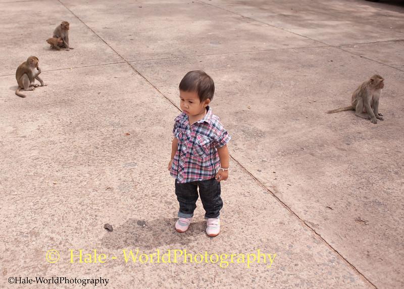 Peelawat and his Monkey Friends In Kumphawapi, Thailand