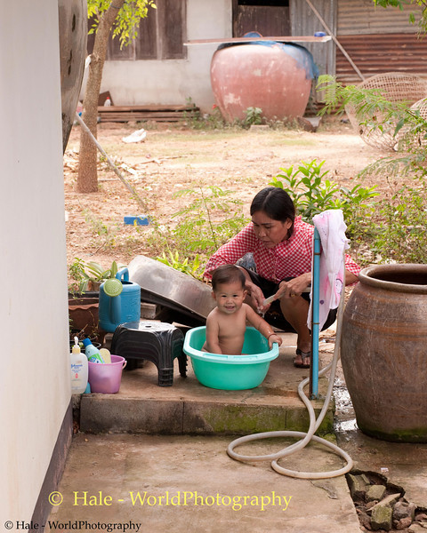 Peelawat Getting Washed By Duangchan Outside in Tahsang Village