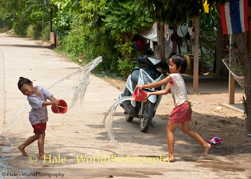 Village Water Fight On A Very Hot Isaan Afternoon