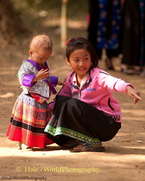 Young Hmong Girsl in Traditional Clothing at New Year's Festival in Luang Prabang, Lao People's Democratic Republic