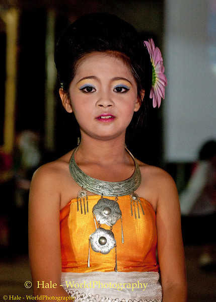 Young Schoolgirl Ready to Perform On Stage at Phi Ta Khon Festival in Dansai
