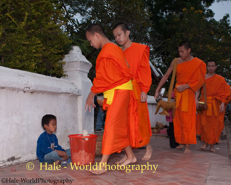 A Young Boy Awaits Surplus Food Offerings for His Family From Monks in Luang Prabang, Laos