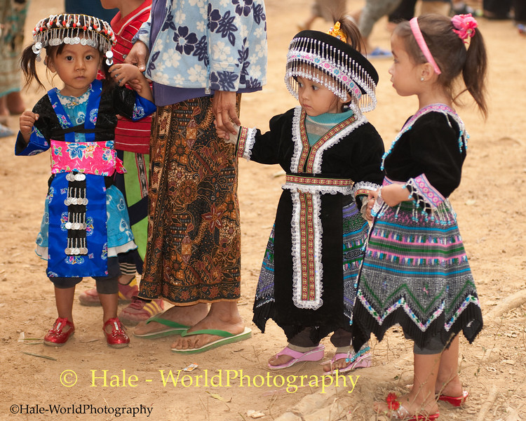 Young Hmong Girls in Traditional Clothing at New Year's Festival in Luang Prabang, Lao People's Democratic Republic