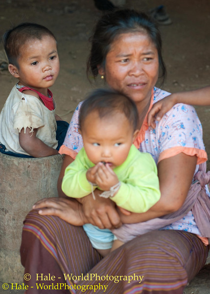 Khmu Grandmother and Two Of Her Grandchildren In Ban Pakha, Laos