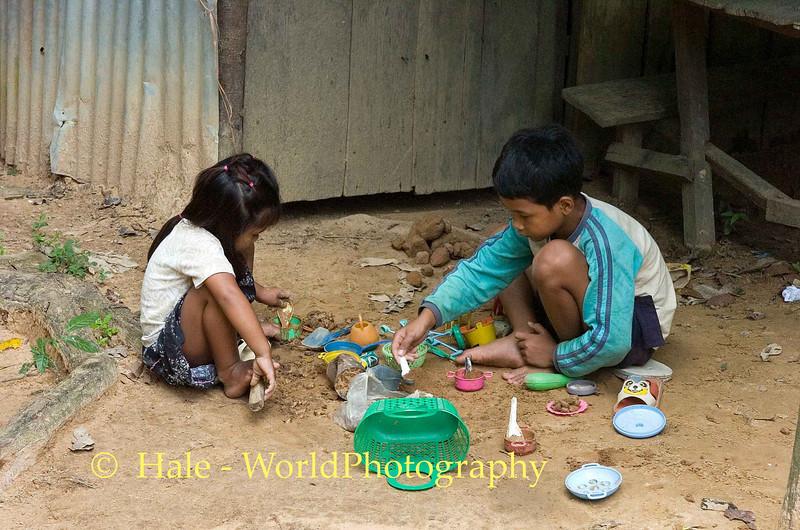 Children Making Mud Pies - Phnom <br /> Kulen, Cambodia