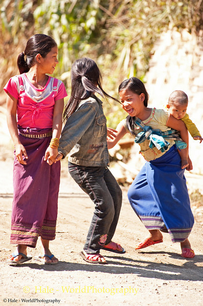 Hmong Girls Playing, Luang Namtha Province, Laos