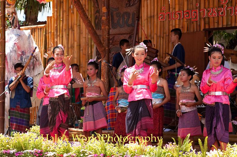 School Children Dance On Stage for Phi Ta Khon Festival