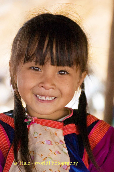 Happy Young Lisu Child Along the Road to Pai, Thailand