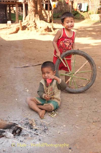 Khmu Boys Playing In Luang Prabang Province