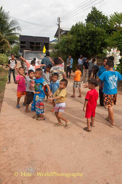 Young Boys Dancing In the Streets of Tahsang Village Celebrating Bun Kaithin
