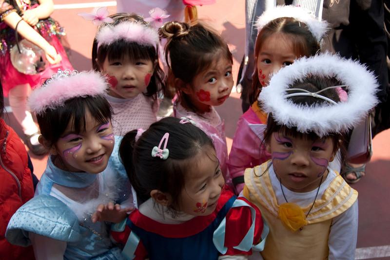 Halloween visitors from a local kindergarten