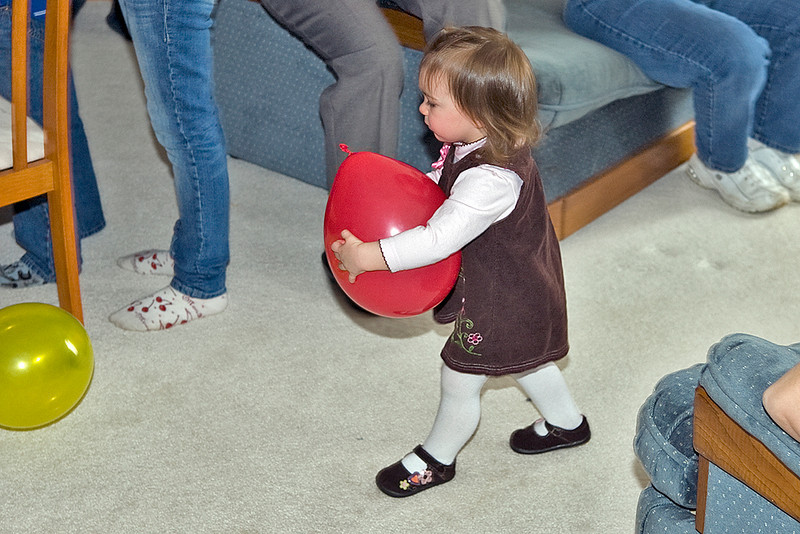 Adalia and the big red balloon.
